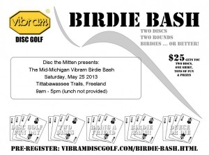 Vibram Birdie Bash at Tittabawassee Trails: Sat., May 25 2013! graphic