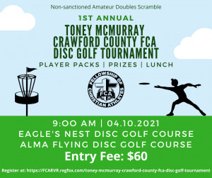 Toney McMurray Crawford County FCA Disc Golf Tournament graphic