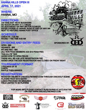 The 3rd Annual Hanna Hills Open - Sponsored by Dynamic Discs graphic