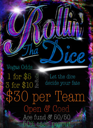 Rollin tha Dice Doubles @ Tillman Park... fundraiser event with 50% payout in cash. $250 guaranteed to 1st in Open division graphic