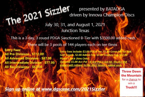 2021 Sizzler presented by BATADGA driven by Innova Champion Discs graphic