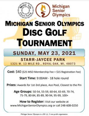 7th Annual Michigan Senior Olympics Disc Golf Tournament graphic