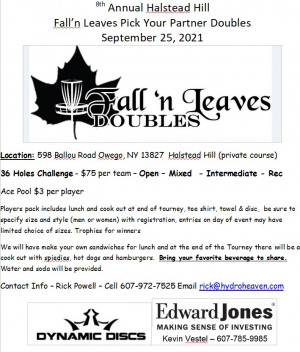 8th Annual Fall'N Leaves  Doubles Sponsored by Dynamic Discs graphic