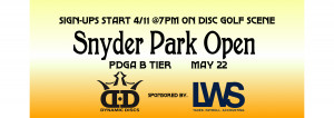 Snyder Park Open sponsored by LWS Accounting and Dynamic Discs graphic