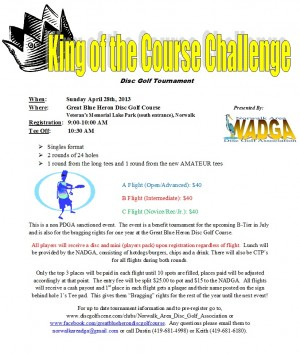 Norwalk Area DGA's King of the Course 2013 graphic