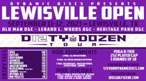 """Dynamic Discs Presents the Lewisville Open in Memory of Tom """"Old Man"""" McCutcheon graphic"""