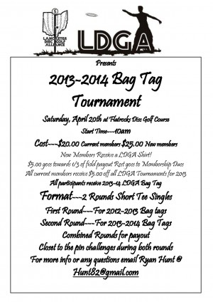 LDGA 2013 Bag Tag Tournament graphic