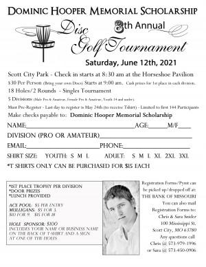 8th Annual Dominic Hooper Memorial Scholarship Disc Golf Tournament graphic