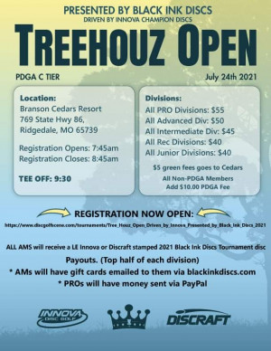 Tree Houz Open, Driven by Innova, Presented by Black Ink Discs graphic