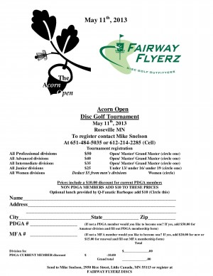 Acorn Open hosted by Fairway Flyerz graphic