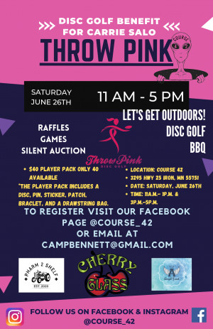 Throw Pink Event for Carrie Salo 3p.m.-5p.m Registration Only graphic