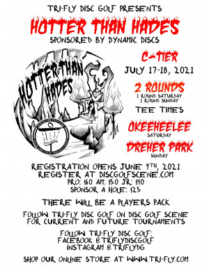 Tri-Fly Disc Golf presents Hotter than Hades graphic