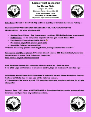 Ladies Flight sponsored by Throw Pink graphic