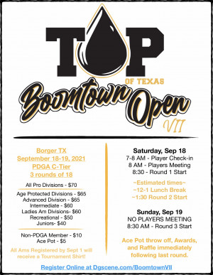 Top of Texas Disc Golf Presents: Boomtown Open VII graphic