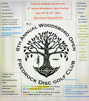 Woodsboro Open 2021 Sponsored by Dynamic Discs- AM Day graphic