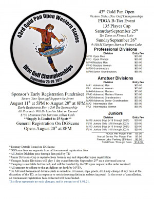 43rd Gold Pan Open - Western States Disc Golf Championships graphic