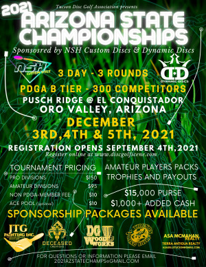 2021 Arizona State Championships sponsored by NSH Custom Discs & Dynamic Discs graphic