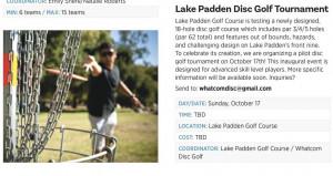 Lake Padden Disc Golf Pilot Tournament graphic