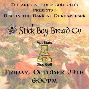 Disc in the Dark at Durham Park Halloween Fundraiser 2021 graphic