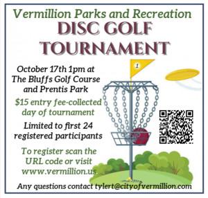 Vermillion Parks and Recreation Disc Golf Tournament graphic