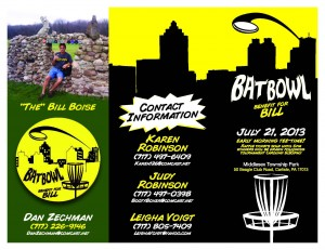Bill's Bowl - Super Hero Themed Disc Golf Tournament & Fundraiser graphic