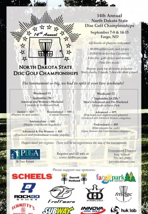 14th North Dakota Disc Golf State Championships (Advanced and Open) graphic