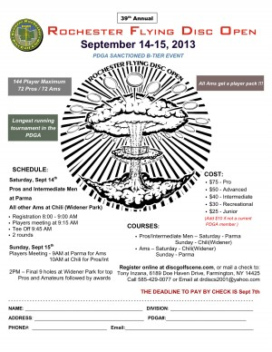 39th Annual Rochester Flying Disc Open graphic