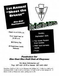 "1st Annual ""Shoot the Breeze"" Disc Golf Tournament graphic"
