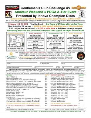 Gentlemen's Club Challenge XV - Amateur Weekend - Presented by Innova Champion Discs graphic