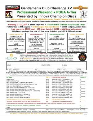 Gentlemen's Club Challenge XV - Professional Weekend - Presented by Innova Champion Discs graphic