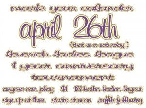 Leverich Ladies League 1 year anniversary tournament! graphic