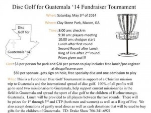 Disc Golf For Guatemala '14 Fundraiser Tournament graphic