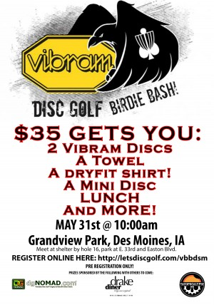 Vibram Birdie Bash at Grandview Park, Des Moines, Iowa graphic