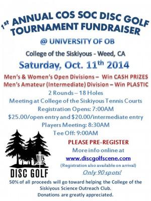 COS SOC University of OB Disc Golf Fundraiser graphic