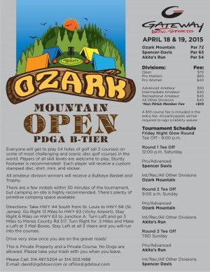 2015 Ozark Mountain Open presented by Gateway Disc Sports graphic