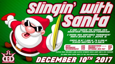 Slingin' with Santa presented by Dynamic Discs & GNR logo