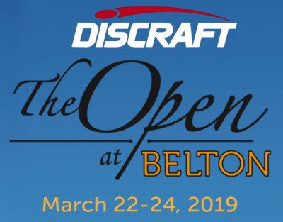 "Discraft presents ""The Open at Belton"" logo"