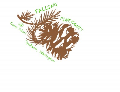 Falling Pine cones logo