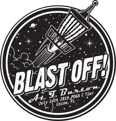Sun King/Discalibur present Blast Off at F. Burton logo