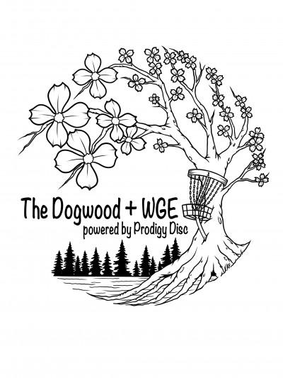 The Dogwood + WGE powered by Prodigy Disc logo