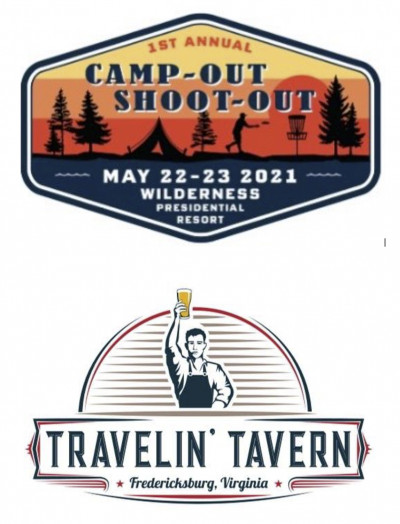 """Travelin' Tavern Presents """"Camp-Out Shoot-Out"""" logo"""