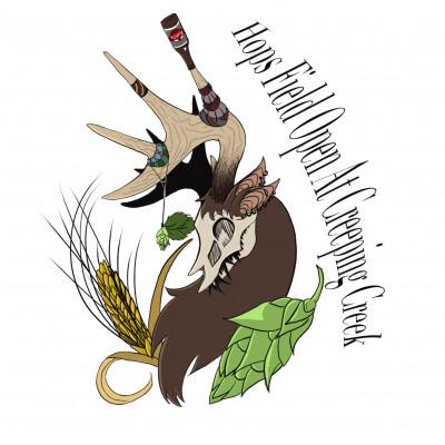 """""""Hops Field Open @ Creeping Creek"""" logo"""
