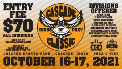 Cascade Birds of Prey Classic sponsored by Dynamic Discs / 208 Discs logo