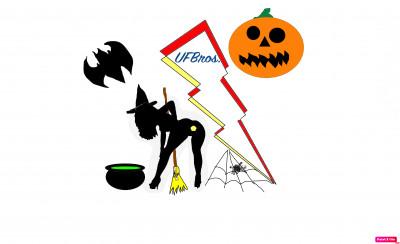 UFBrosDiscGolfCommunity - Bro down glow town throw round : Halloween Spooktacular logo